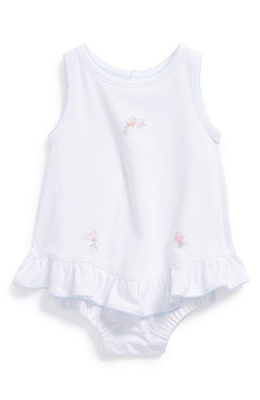 Kissy Kissy's Skirted Pima Cotton Bodysuit features understated floral embroidery to complement baby girls' sweetness