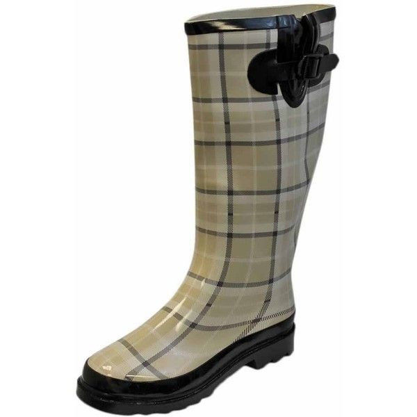 Beige White Print Plaid Ladies Rubber Rain Boots With Strap (€37) ❤ liked on Polyvore featuring shoes, boots, beige, boots women, footwear, wellington boots, white slip on shoes, low heel boots, wellies boots and pull on boots