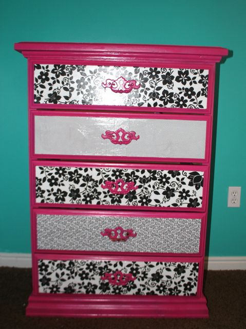 Modge Podge dresser. cut up paper to make a quilted pattern. The project was time consuming but cheap, easy and the results were amazing. I wanna try this! :)