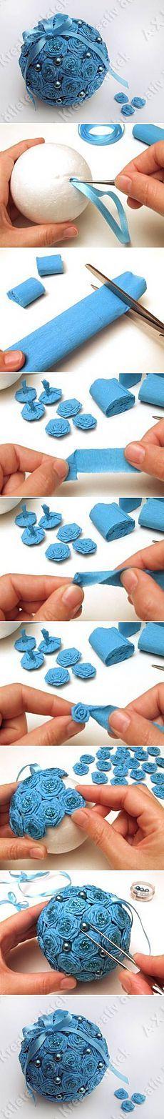 DIY Papel Crepe Projetos Flor Bola DIY   UsefulDIY.com