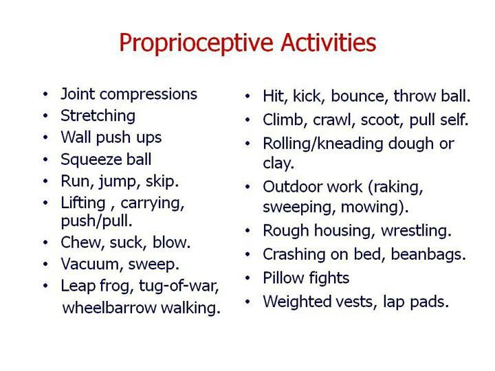 Proprioveptive activities