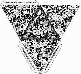Caja pirámide blanco y negro