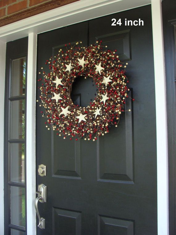 RED WHITE and BLUE Stars and Berry Wreath Fourth by ElegantWreath, $70.00