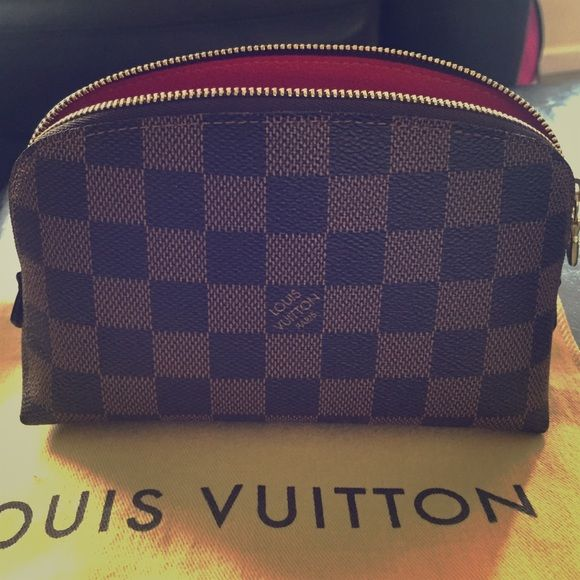 Louis Vuitton Cosmetic Pouch Brand new Louis Vuitton cosmetic pouch. This is the smaller size. I bought it off tradsey unfortunately it's too small for me j need the bigger size so I am selling to a new owner! Great condition never used comes with dust bag!! Gold hardware great condition!! Louis Vuitton Accessories