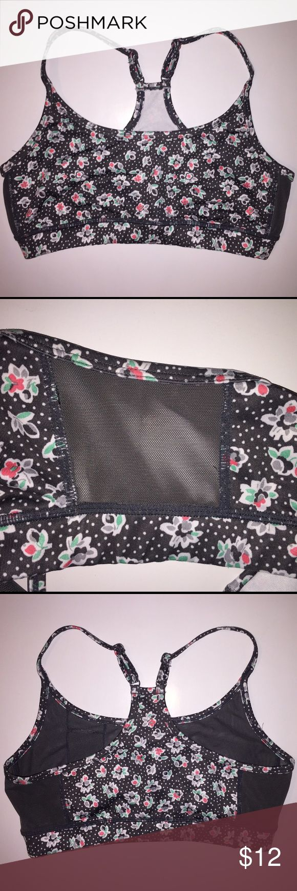 Lightweight Patterned Sports Bra Aerie flower pattern Sports Bra with adjustable straps and side mesh inserts. There is a small inside pocket on the left side for convenience! Perfect lightweight Sports Bra! Size small. aerie Other