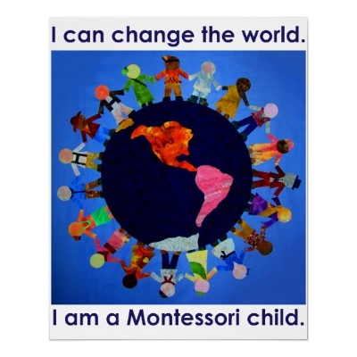 I can change the world. I am a Montessori Child, put near peace table surrounded by pictures of world children