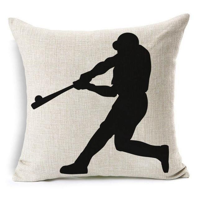 Cushion Cover Black And White Pillow Case Baseball Design Pillow