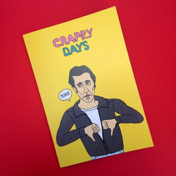 The Fonz Fonzie 'Crappy Days' A5 Lined Notebook From Full Colour Original Illustration Made From Recycled Paper Pun Humour TV Happy Days