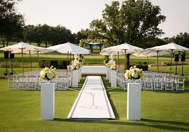 Chic outdoor wedding ceremony.... Umbrellas! great idea