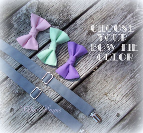 PICK YOUR COLOR - Pink, Mint, Purple Bow Tie - Grey Suspenders Set - Babys Toddlers Boys Bowtie and Suspenders - Wedding - Photo Prop on Etsy, $32.95