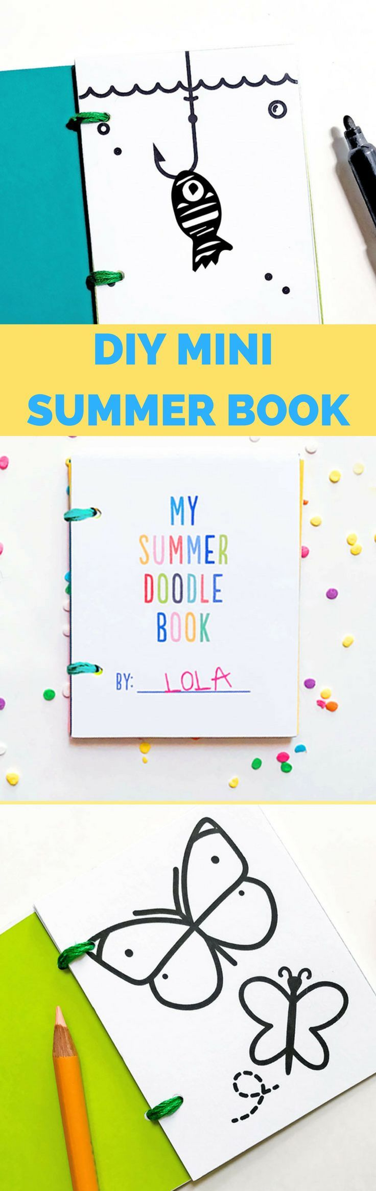 DIY Mini Summer Doodle Books with Free Printables. Adorable summer coloring, art project and gift kids can make for themselves and friends.