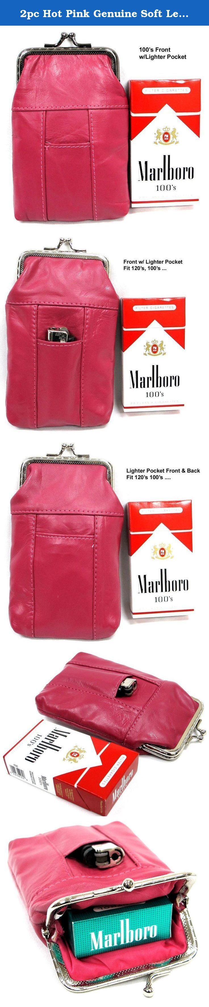 """2pc Hot Pink Genuine Soft Leather Cigarette Case with Lighter Pocket 100s + 120s 2pc for $10.99. 2pc Set HOT PINK Genuine Soft Leather Cigarette Case Super Soft and Light Weighted, One Fit 100s, One Fit 120s 1. Snapped Top Closure; 2. Lighter Pockets; 3. Inside full nylon lining; 4. Get 2pc at Price of One; 5. Measure: 5.5"""" x 4"""" x 0.5""""; Weight 1.5-OZ."""