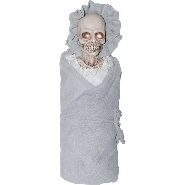 Everyone loves a baby...until they see this one! A great prop for your haunted house or home haunt, this creepy baby doll will leave quite the impression. Skele