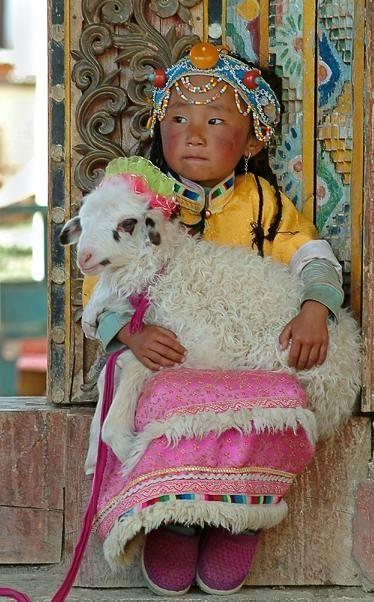 Tibet - Monastère de Songzanlin, ville de Zhongdian - Zhongdian est davantage connue sous le nom de Shangri-La - Photo : Petite fille tibétaine tenant un jeune agneau sur ses genoux / Photographe : Gil Azouri / Prise de la photo : 10 Juin 2005 / www.gilazouri.com