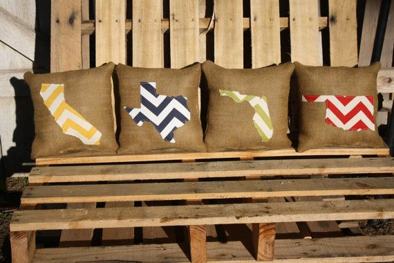 Look what my sister made! aren't they beautiful! Go to her etsy store ISewBlessed :)Chevron State Burlap Pillows (custom)