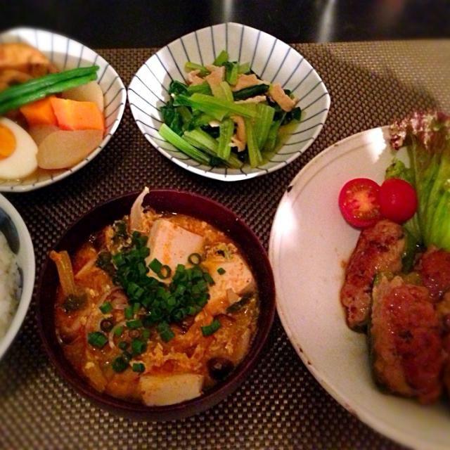 2日連続でピーマンと挽き肉(OvO) - 14件のもぐもぐ - ピーマンの肉詰め、小松菜と揚げの煮浸し、ガンモドキとカブの煮物、チゲ風春雨スープ by Ayumiazu