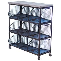 VIP Home & Garden 9 Bin Storage Rack with Wood Top