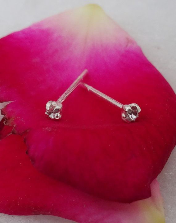 925 Sterling Silver EarringTiny Crystal Stud by KGNSILVER on Etsy
