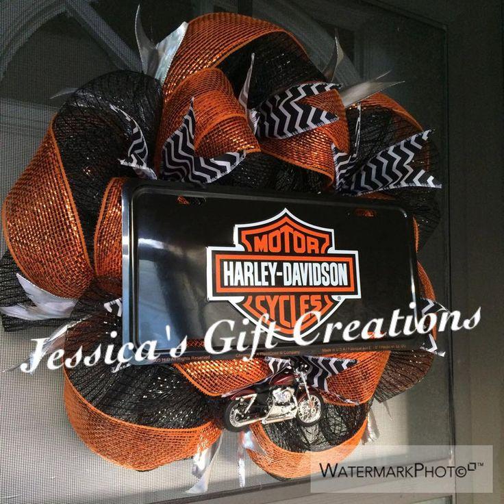 Harley Davidson Deco Mesh Wreath Motorcycle Orange And Black Year Round