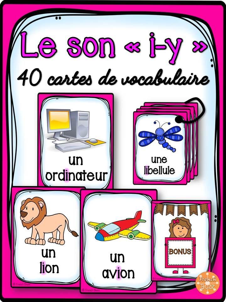 """40 cartes de vocabulaire avec des mots contenant le son """"i"""", """"y"""". Ces cartes peuvent être utilisées dans des jeux de lecture ou comme référentiel pour ce son"""