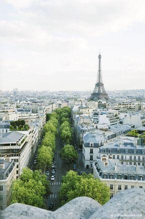 Gorgeous view of Paris & Eiffel tower from Arc De Triomphe