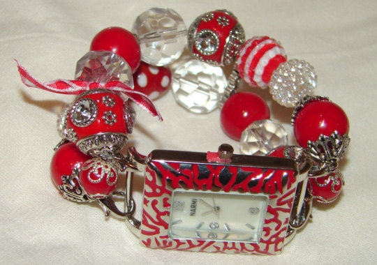 Red and White Chunky Beaded Watch Band and Face  by BeadsnTime, $30.00