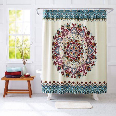 Better Homes and Gardens Medallion Fabric Shower Curtain - love the aqua version - would look cute in the camper - see other pic/mdb