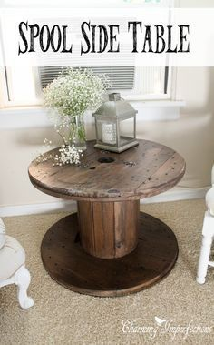 This side table is the perfect farmhouse touch with an even more perfect price tag! Learn what to do to restore these old spools into nightstands and side tables for your country cottage.
