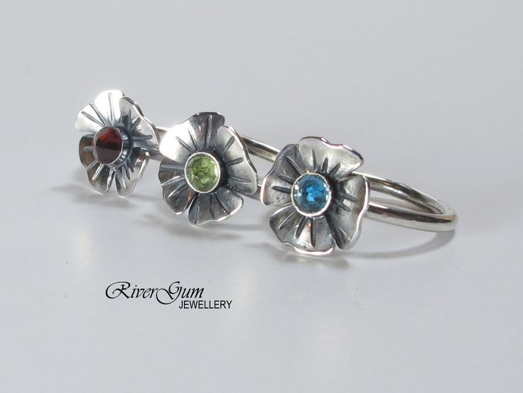 Rustic Flower Ring, Oxidized Silver Stacking Ring, London Blue Topaz, Garnet, Peridot, Handmade by RiverGum Jewellery, MADE TO ORDER by RiverGumJewellery on Etsy