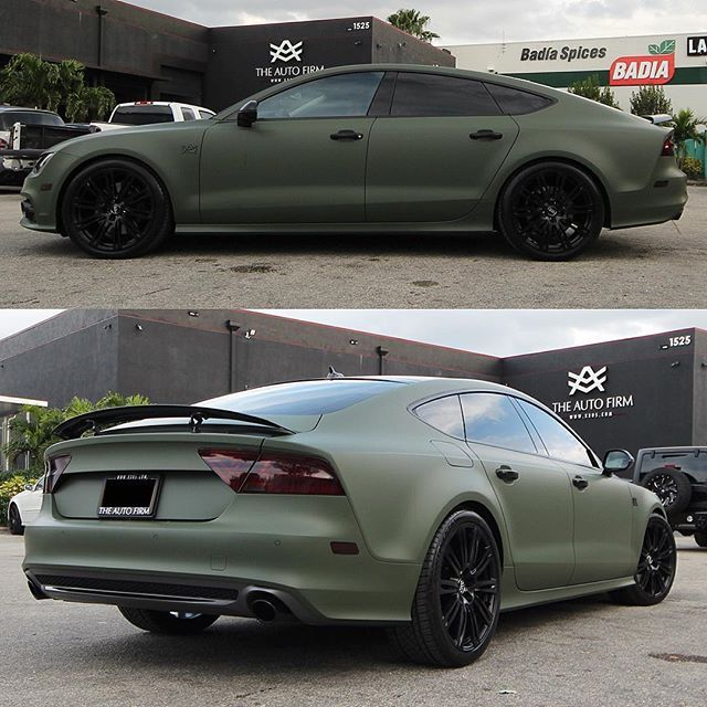 """#mulpix More pictures of this Audi A7 wrapped Matte Green, all accents painted black, stock wheels powder coated... Done for my boy """"El Parcerito"""" ...  #NY  #nyc  #newyork  #newyorkcity  #wrap  #green  #audi  #a7  #AutoFirm  #TheAutoFirm  #Avorza  #AlexVega  #Cars  #Car  #Auto  #Luxury  #Exotic  #Custom  #Wheels  #VIP  #305  #MIA  #Miami  #carporn  #KeepUp  #AvorzaMovement"""