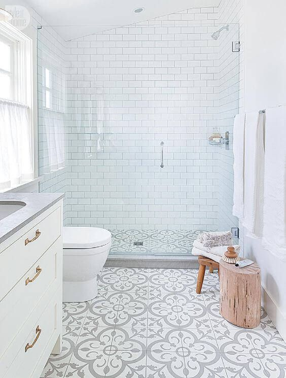 Picture Gallery For Website Not so plain white bathroom with great walk in shower grey u white floor tiles and grey countertop all add interest to a basic white room