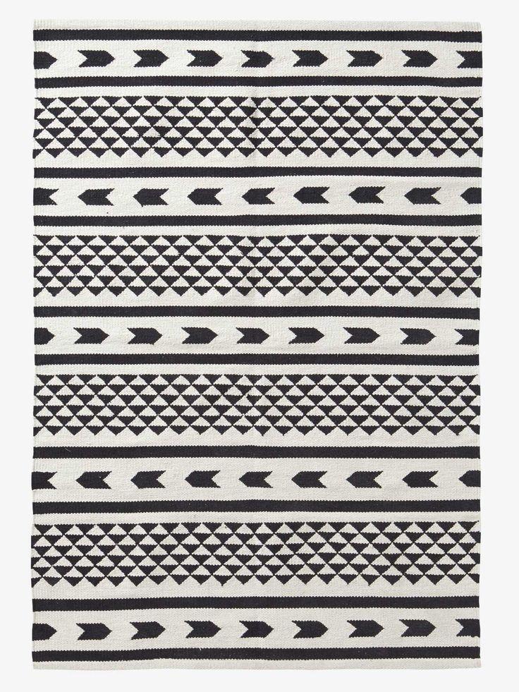 tapis noir blanc blanc noir d co maison white rug. Black Bedroom Furniture Sets. Home Design Ideas