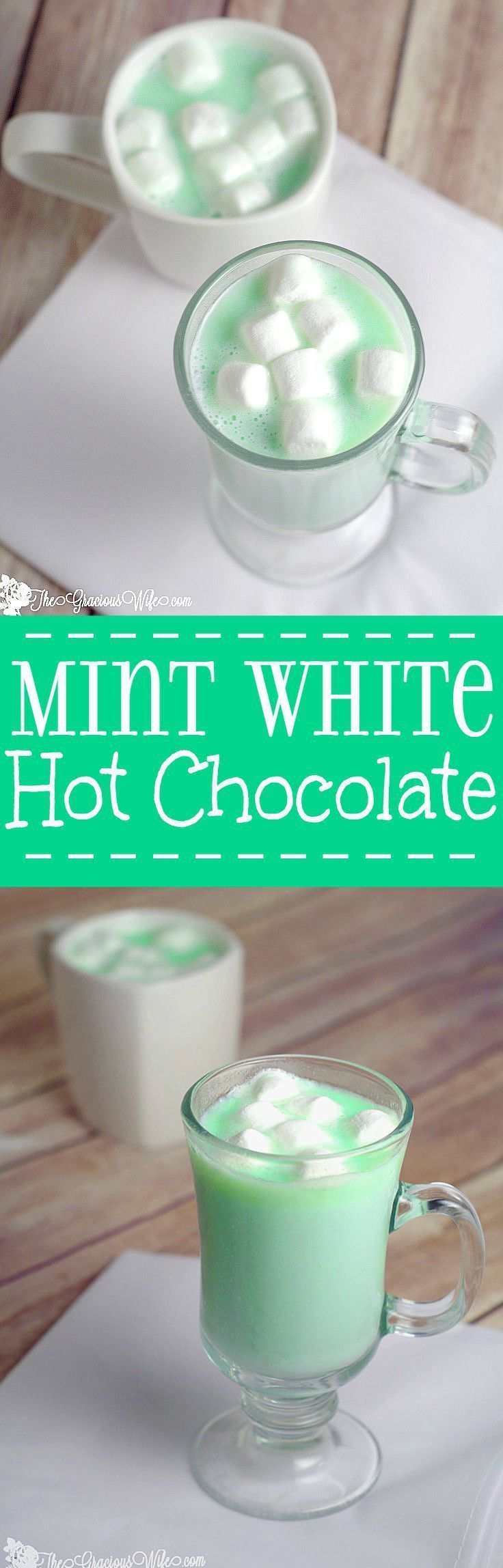 Homemade Mint White Hot Chocolate is a fast and easy homemade hot chocolate recipe made with white chocolate and mint!creamy, white chocolate with a burst of peppermint flavor to create a perfect decadent Christmas, winter, St. Patrick's Day, or holiday