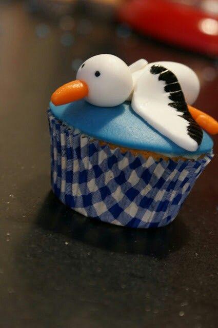 Geboorte cupcake ooievaar