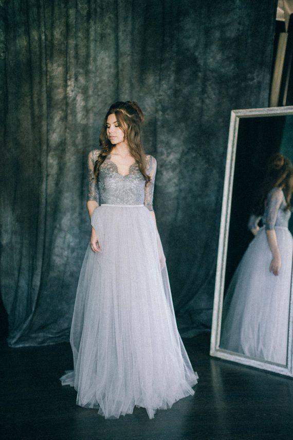 $820 - Wedding dress Space Light grey and dark bluish grey by LiluBridal