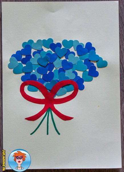 Materialen om te knutselen: Gekleurd papier of karton (oude kleurkaarten van een doe-het-zelf-zaak) Groene stift Papier pons in de vorm van een hart Schaar Lijm  Lekker knutselen: …