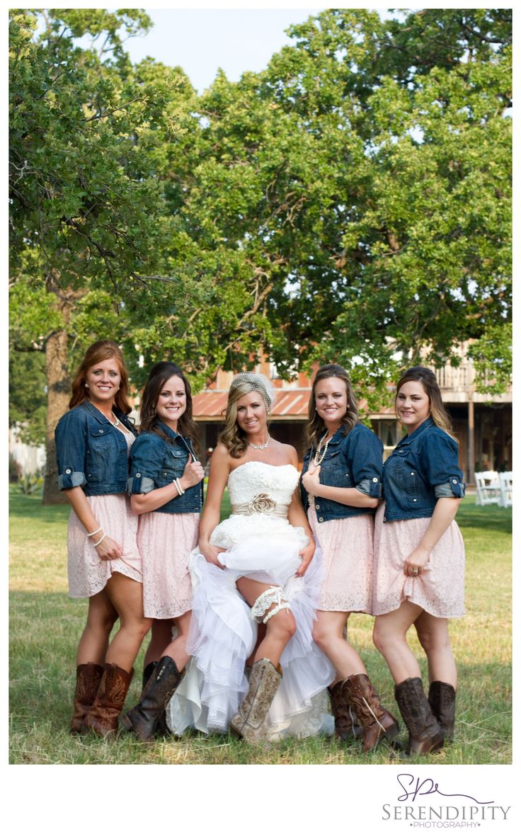 Best 25 bridesmaids cowboy boots ideas on pinterest country horrible hair but the rest is beautiful love the denim rustic wedding bridesmaid pose serendipity ombrellifo Choice Image
