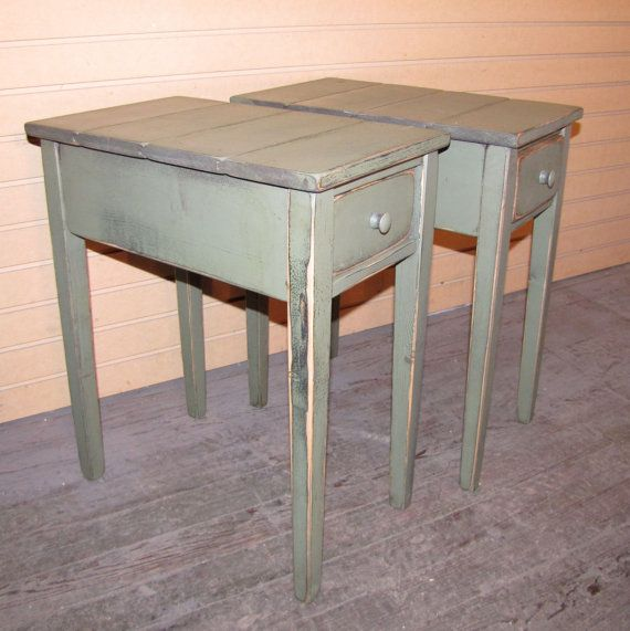 ONE Distressed Shaker End Table With Drawewr   Rustic Cottage Style  Color  Choice   FREE