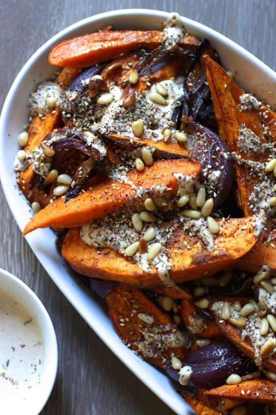 Sweet Potato and Red Onion Salad with Tahini Dressing and Za'atar.   Vegan, gluten free, paleo, and vegetarian.   Click for healthy recipe.   Via From Jessica's Kitchen