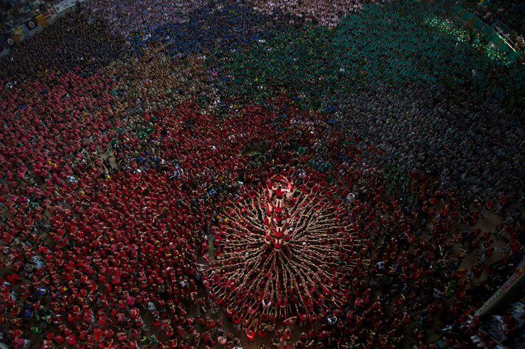 """תמונות השנה 2014 הארץ קבוצת הקסטליירים (בוני המגדלים) Joves Xiquets de Valls בתחרות המגדלים האנושיים שנערכה בטרגונה שבספרד באוקטובר. בשנת 2010 הכריז אונסק""""ו על הקסטלים כעל נכס מורשת תרבות עולמי. (צילום: אמיליו מורנאטי/אי-פי)"""