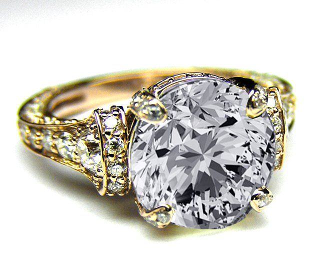 Fancy - Engagement Ring - Large Round Diamond Cathedral Graduated pave Engagement Ring In Yellow Gold