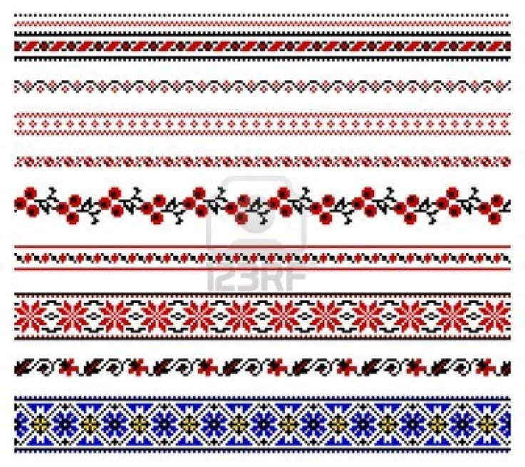illustrations of ukrainian embroidery ornaments, patterns, frames and borders. Stock Photo - 8877437
