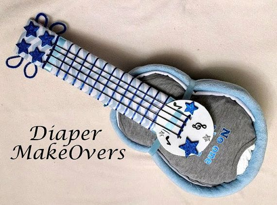 Boy Diaper Cake  Guitar Diaper Cake  Baby by DiaperMakeOvers