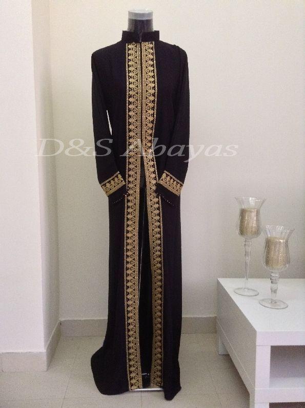 Black opened Dubai Abaya, Kaftan farasha Jalabiya with Gems Retail & Wholesale