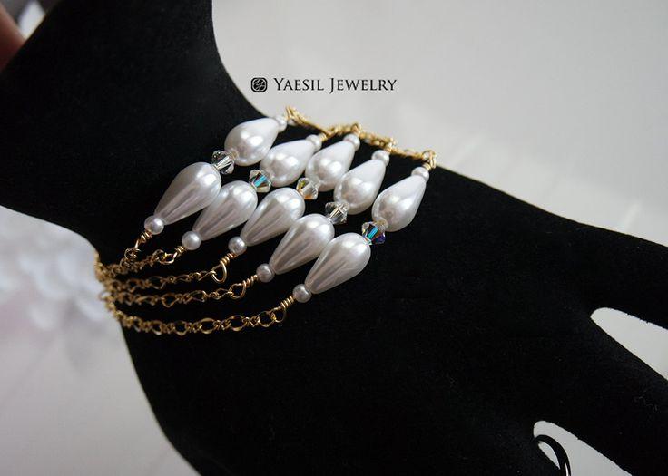 Multistrand Pearl Bracelet, Tear Drop Pearl Fancy Chain Bracelet, Bridal Bracelet, Wedding Bracelet, Bridesmaid Bracelet Gift by YaesilJewelry on Etsy