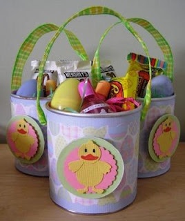 Baby food container made in to an  Easter Treat Basket