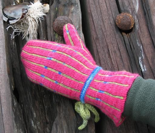 Keep your hands doubly-warm this winter! Pinstripe Double Knit Mittens (knit using my Cat's Pajamas yarn paired with Curious Creek's Omo)