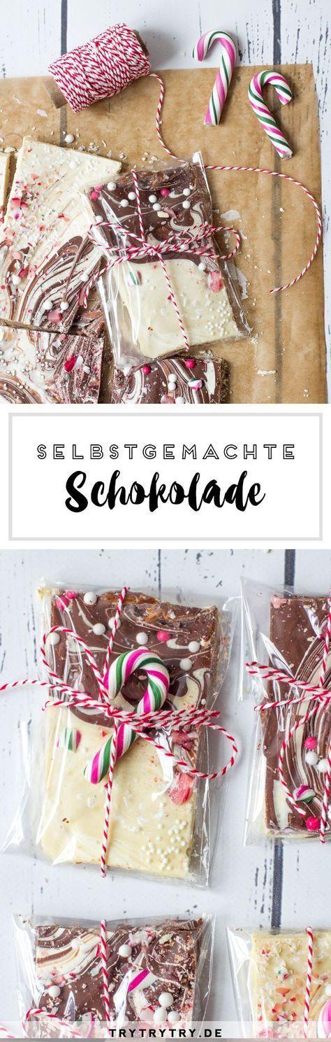 Selbstgemachte Schokolade zum Verschenken. Tolles DIY Geschenk für Weihnach…