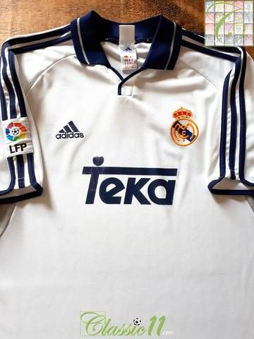 58974e695 Official Adidas Real Madrid home football shirt from the 2000 01 season.  Complete with La Liga patch on the sleeve
