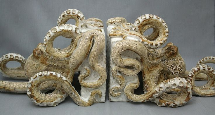 Octopus Book Ends Ceramic Sculpture: Beach Decor, Coastal Home Decor, Nautical Decor, Tropical Island Decor & Beach Cottage Furnishings